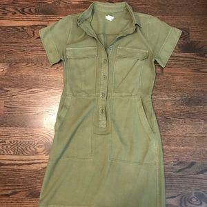 J. Crew military style shirt dress Olive green sz2